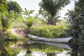 African canoe at the shore — Stock Photo
