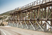 Old wooden railway bridge — Stock Photo