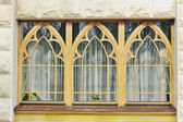 Window of the building in the landscape park — Stock Photo