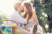 Couple in love on picnic — Stock Photo