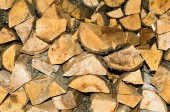 Dry firewood stacked for kindling the furnace. Natural horizonta — Stock Photo