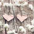 White flowers and two hearts on a wooden background. Romantic ca — Stock Photo #59981055