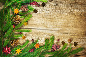 Christmas tree with cones, berries and nuts on an old wooden bac — ストック写真