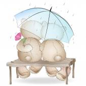 Two lovers bears sitting on a bench under an umbrella — Vector de stock