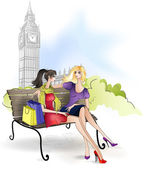 Girlfriend sitting on the bench in London — Vettoriale Stock