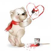 Happy Teddy Bear painting heart 2 — Stock Vector