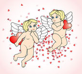 Two little Cupid flying with hearts8 — Stock Vector