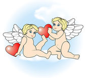 Two little Cupid flying with hearts9 — Stock Vector