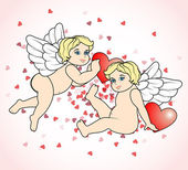 Two little Cupid flying with hearts13 — Stock Vector