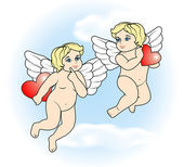 Two little Cupid flying with hearts17 — Stock Vector