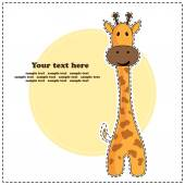 Fun giraffe, greeting card, vector illustration — Stock Vector