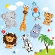 Set of funny animals from Africa — Stock Vector #63196199