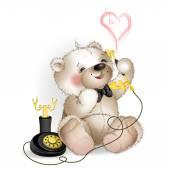 Happy Teddy Bear talking on the phone — Stock Vector