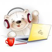 Fun Teddy bear sitting at the computer and says Hello — Wektor stockowy