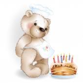 Cook Teddy bear with cake — Stock Vector