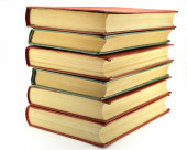 The old the yellowed books on white background — Stock Photo