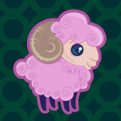 Little pink quite sheep on green background — Stock Vector