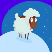 Vector portrait of smiling funny cute sheep standing at the snow — Vetorial Stock