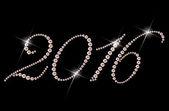 Padrão de design do rhinestone do ano 2016 em fundo preto — Fotografia Stock