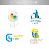 Vector stylish logo collection of urban building office company on white background — Stock Vector