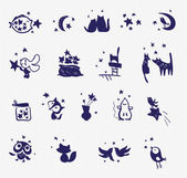 Vector collection of hand made cute animal stamps. Fabric print set. Stamp templates. Simple cute animals and stars. — Stock Vector