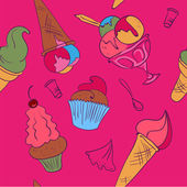 Seamless vector colorful doodle set of icecream on pink back ground. — Stock Vector