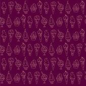 Seamless vector purple background with set of icecream. — Stock Vector
