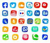 Watercolor set of social networking icons. Hand draw icon pack. Vector social icons on white background. — Vecteur