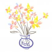 Watercolor flowers on white back ground. Bouquet of flowers in vector vase. — Stock Photo