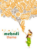 Mhendi pattern vector. Floral henna pattern on white background. Bellydancer girl in green costume. Lettering. — Stock Vector