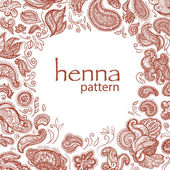 Mhendi pattern vector. Floral henna pattern on white background. — Stock Vector