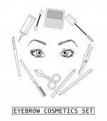 Stilvolle Augenbrauen Make-up Kollektion. Vektor-Führer. — Stockvektor