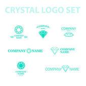 Vector diamond logo set. Jewellery logo collection. Rhinestone company. — Stock Vector