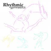 Vector set of rhythmic gymnastic girls. Dancing women sketch. Sport, health lifestyle. — Stock Vector
