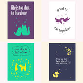 Vector set of beautiful cards templates. Text message, lettering. Congratulations, best reguards, post card design. — Stock Vector