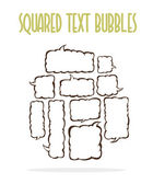 Vector set of squared text ballonos. Group of vector comics messege bubbles. — Stock Vector