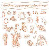 Vector set of rhythmic gymnastic elements. Sport signs and icon design. Vector rhythmic gymnastic attributes. — Stock Vector