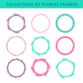 Set of vector floral hand drawn frames. Collection of editable rounded frames on white background. Good for book illustration, card design and menu cover. — Stock Vector