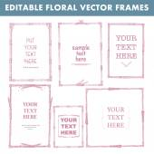 Set of vector floral hand drawn frames. Collection of editable squared frames on white background. Good for book illustration, card design and menu cover. — Stock Vector