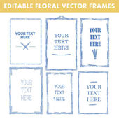 Set of vector floral hand drawn frames. Collection of editable squared frames on white background. Good for book illustration, card design and menu cover. — 图库矢量图片