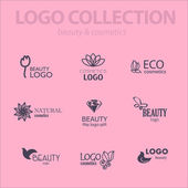 Set of beauty industry and fashion logo. Identity for beauty companies, ecological cosmetics business, natural beauty centers or spa salons. Also may be used for wellness centers or yoga and medicine companies and clinics. — Stock Vector