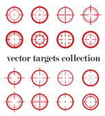 Collection of vector targets. Different crosshair icons. Aims templates. Shooting marks design. — Stock Vector