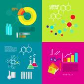 Chemistry flat icons collection. Infographics illustration. Medical methods and technology. Science flat illustration design with squared and round diagrams, formulas, elements, atom, glass bottles and text space. — Stock Vector