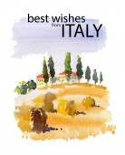 Vector watercolor illustration of Italy village — Stockvector