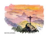 Ilustración acuarela vector de visitas turísticas de Brasil y la costa con el lugar de texto. Bueno para diseño de tarjeta postal de memoria caliente, diseño gráfico o ilustración del libro — Vector de stock