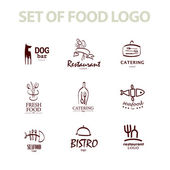 Vector set of restaurant logo design tempaltes. Eco food, fast food, sushi, pizza icons, fish and sea food company insignia. Coffee and tea icons. Dish elements icons design. — Stockvector