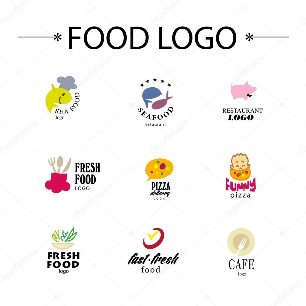 Vector set of restaurant logo design tempaltes eco food