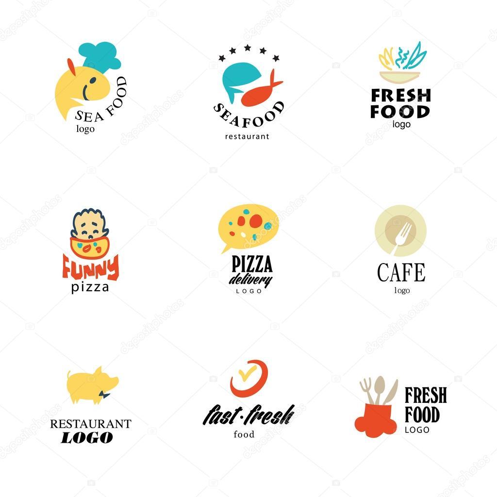 Vector set of restaurant logo design tempaltes. Eco food, fast food ...