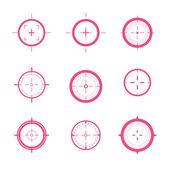 Vektör hedefleri topluluğu. farklı crosshair simgeler. şablonları amaçlamaktadır. işaretleri tasarım çekim. — Stok Vektör