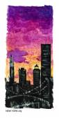 Watercolor hand drawn illustration of New York at night time. Night city view at sunset. Citylights. Good for magazine illustration or placard or memory postcard design. — Stock Photo